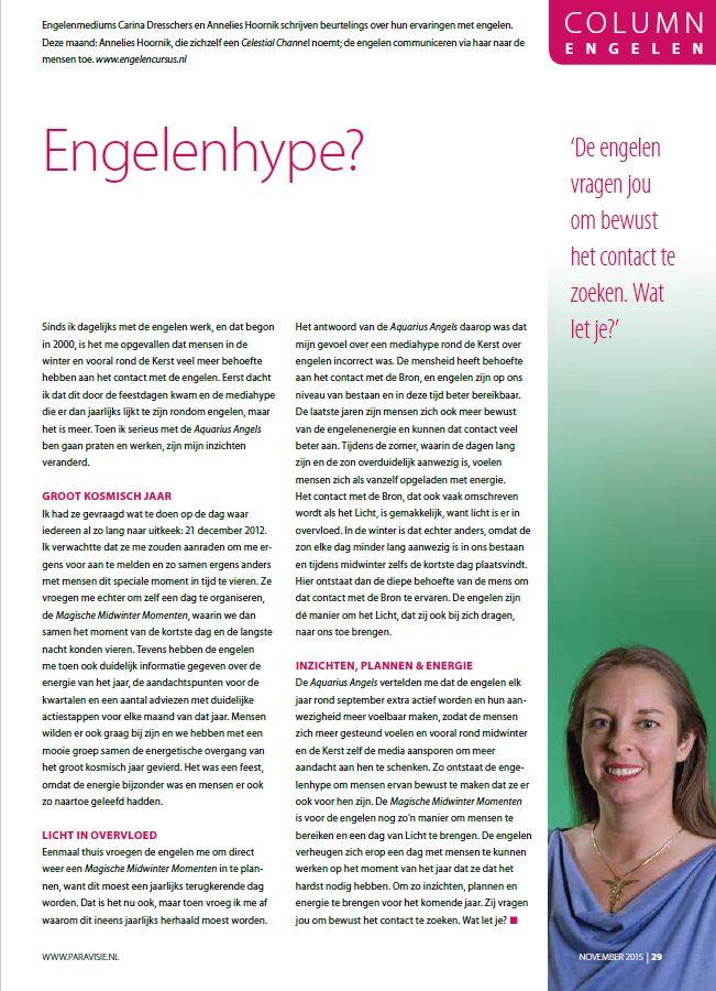 Engelen column paravisie november 2015 Annelies Hoornik