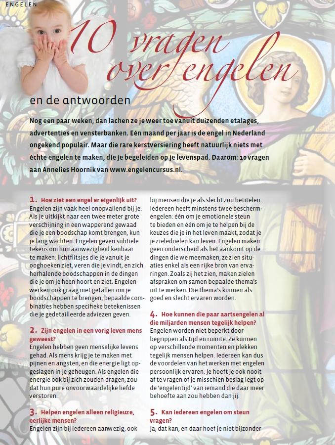 10 vragen over Engelen van annelies Hoornik