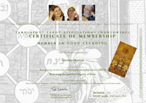 Tarosophy Certficate of membership Tarot Association